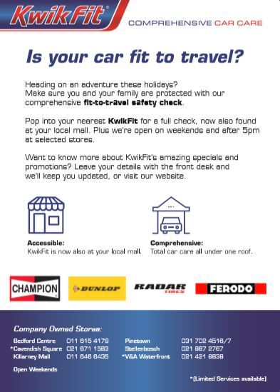 Holiday Car Check-Up Flyer back
